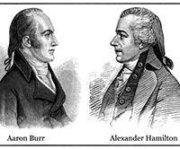Drawing of Aaron Burr & Alexander Hamilton