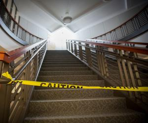 Stairway with caution tape