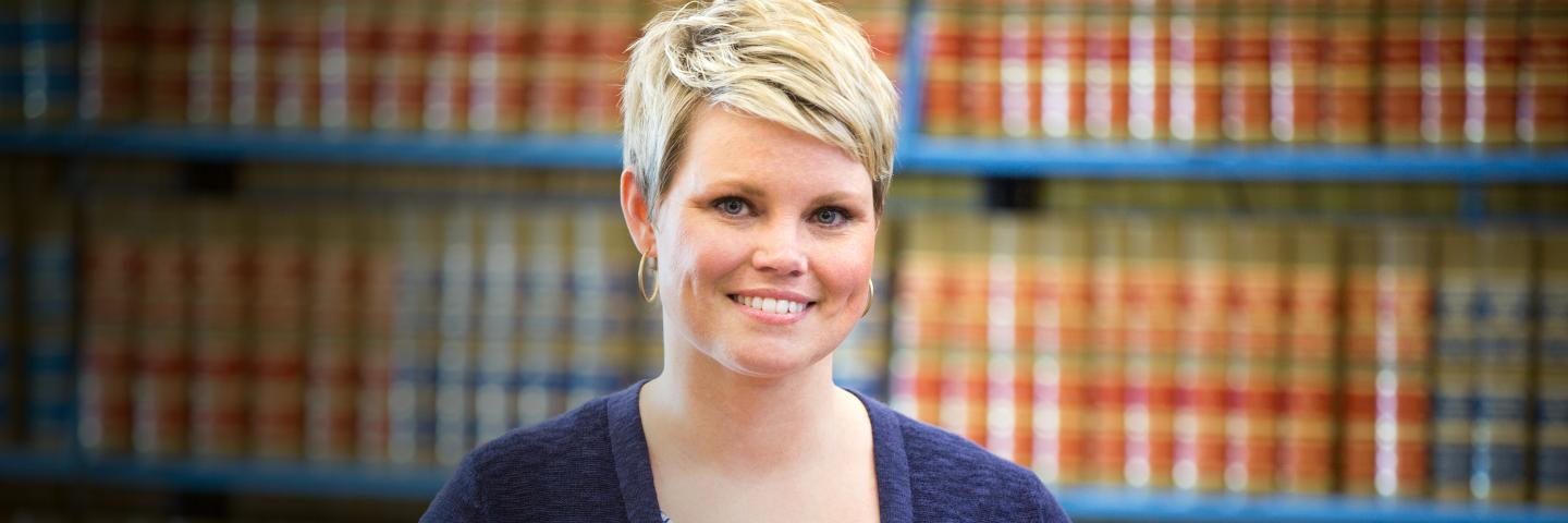 Amber Schlote in Law Library
